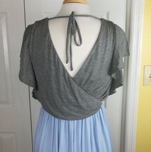LOFT Dresses - NWT Loft blue and gray open back dress
